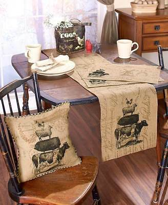 Primitive Farm Life Burlap Kitchen Dining Table Runner Placemats Or Pillow