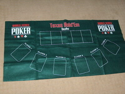 "Poker Texas Hold'em Table Top Layout 36""x 18"" Green Mat Pad Felt Portable Cover"