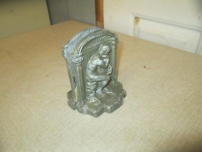 A Pair Of Vintage/antique The Thinker Metal/Bronze Sculpture Bookends...NICE