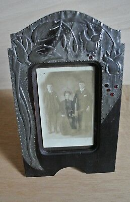 Original Arts and Crafts Pewter Photograph Frame Red Glass Stones Fuchsia Easel