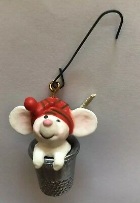 1978 Hallmark Little Tree Trimmer Mouse in Thimble Christmas Ornament with Box