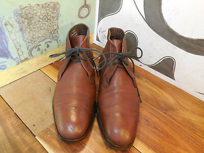 Vintage Brown Pebbled Leather Ankle Boots Men's 8M #06278 Made in India