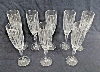 "Set of 8 Cristal d'Arques Crystal CLASSIC Pattern 9-3/8"" Champagne Flutes"