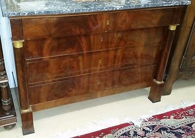 Antique French  Louis Philippe Chest w Marble Top 2 Columns Ormolu 4 drawers