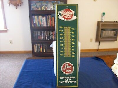 """Vintage Golden Sun Drop 27"""" Tin Embossed Thermometer"""