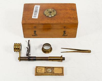 Microscope Parts Antique Brass & Wood Case