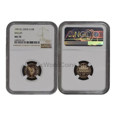 USSR (Russia) 1991 Ballet 10 Roubles Gold NGC MS70 SKU# 6787