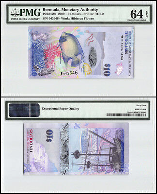 Bermuda 10 Dollars, 2009, P-59a, Onion Prefix, Fish, Commissioners House, PMG 64