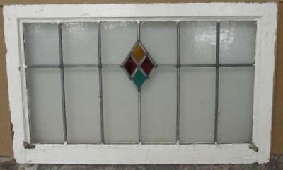 LARGE OLD ENGLISH LEAD STAIN GLASS WINDOW Colorful Diamond Abstract 29.5 x 18.25