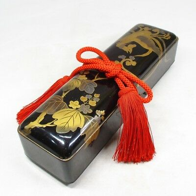 B925: Japanese old lacquered letters box FUBAKO with good MAKIE of phoenix. 1