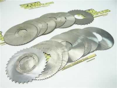 """Lot Of 14 Hss Slitting Slotting Saws .013"""" To 5/64"""" Widths W/ 1"""" Bores"""