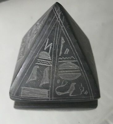 """Vintage Hand Carved Soap Stone Pyramid Egyptian Hieroglyphs Paperweight 2 1/4"""""""