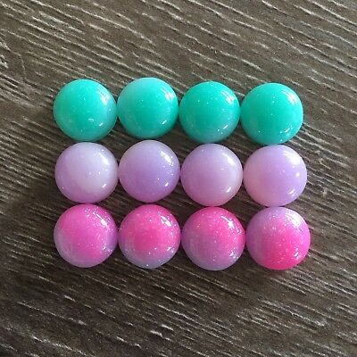12x 12mm Mint Pink Purple Glitter Round Resin Cabochon Flatback Embellishments