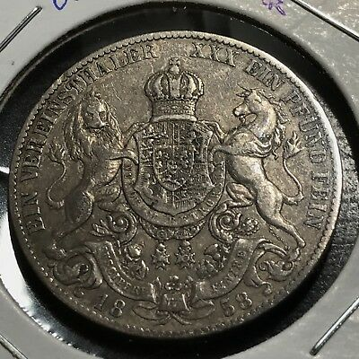 1858-B Germany Hannover Silver Thaler Scarce Crown Coin
