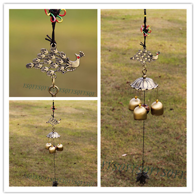 Amazing Antique Bronze Peacock Windchime Chapel Church Bells Wind Chimes