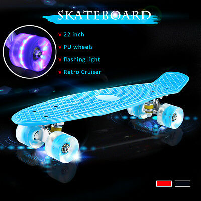 22'' Skateboard LED Outdoor Street Retro Long Board Kids Young Penny Style AU