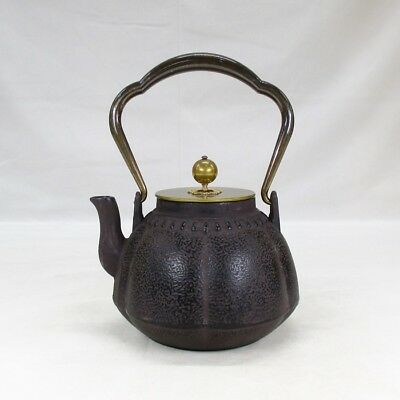 B912: Japanese iron kettle TETSUBIN with copper lid and handle of good quality