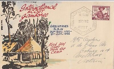 Stamp Australia 3&1/2d brown scout on 1952 Eric Ogden specific cachet FDC