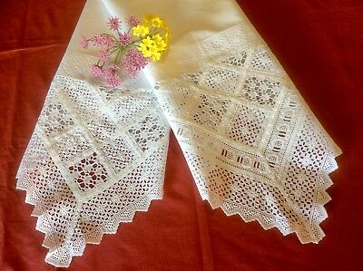 Antique VTG White Cotton 2 Pillowcases Embroidery Crochet & Broderie Anglaise