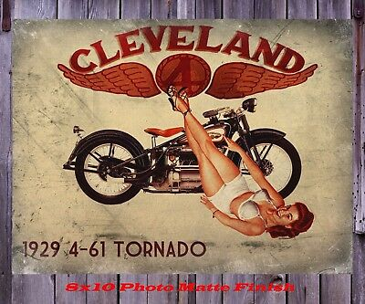 1929 Cleveland 4 Motorcycle Tornado Man Cave Pinup Girl 8X10 Photo PiX SIGN PIC