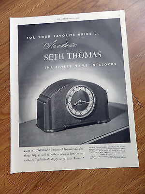 1948 Seth Thomas Clock Ad   Simsbury with Westminster Chimes