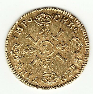 Rare and Nice 1694 L French Colonial Recoined Gold *Louis d'or aux 4L* Louis XIV