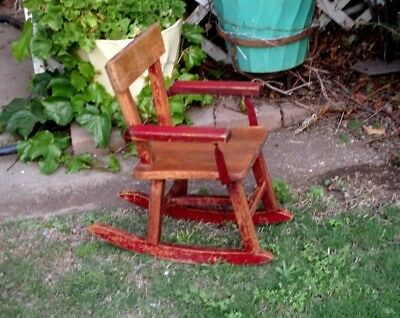 Vintage Rustic Childs Rocking Chair ~Original Red Paint~Solid Oak~Handmade USA