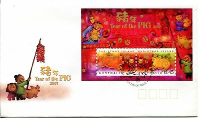 Christmas Island 2007 Year of the Pig MS FDC