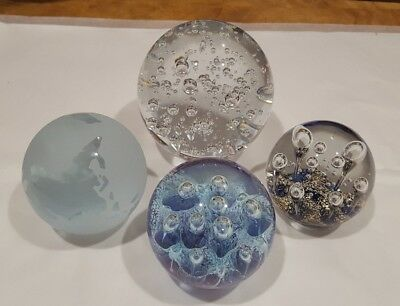 Glass paper weights collection of 4