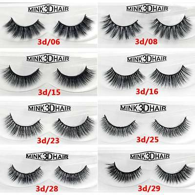 1Pair 3D Mink Long Natural Thick False Fake Eyelashes Hand Made Lashes Makeup