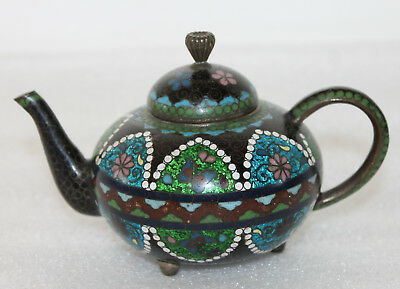 A Superb Japanese Meiji Gold Flake Fluorescent Cloisonne Miniature Tea Pot