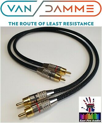 *LC-OFC* Van Damme/Gold RCA Phono Cable Black braided 0.5m pair free EU post