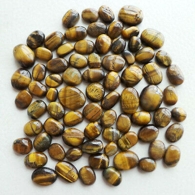 500 Ct+/11mm-18mm// Natural Untreated Yellow Brown Tiger Eye Oval Loose Gems Lot