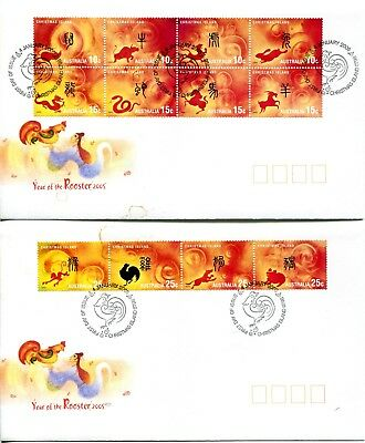 Christmas Island 2005 Year of the Rooster set of 2 FDC