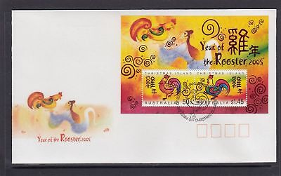 Christmas Island 2005 Year of the Rooster MS FDC