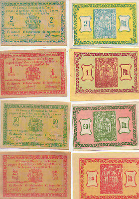 Rare Complete Set Of 4 Different Banknotes From Totana Spain Civil War 1937