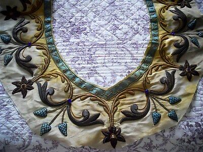 Other Stumpwork  metallic embroidery French antique 19th-century rhinestones