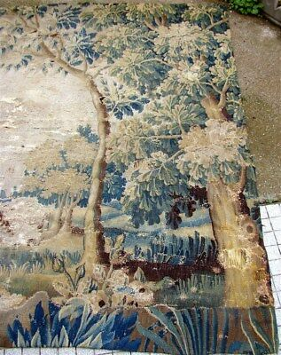 Aubusson French antique tapestry 17th-century verdure ostrich