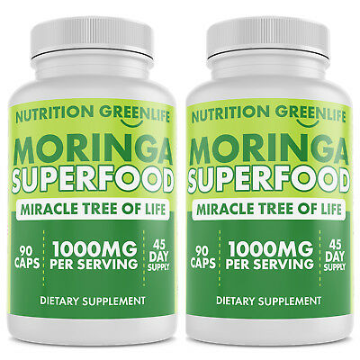 2- 100% PURE MORINGA OLEIFERA LEAF 1000mg Powder Superfood 90 Caps NOT DILUTED