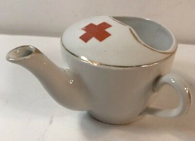 Antique Invalid Feeder Cup: White W/ Red Cross on Top with Gold Trim Accents