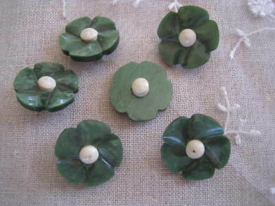 antique French buttons flowers vintage bakelite