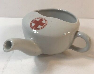 Antique Invalid Feeder Cup: Solid White W/ Red Cross on Top