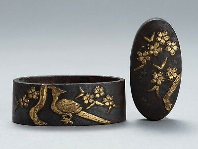 "Antique Orig FUCHI KASHIRA ""Flowers & Bird"" Japanese Sword Katana Wakizashi Edo"