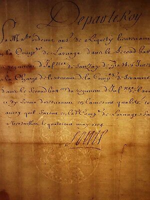 KING LOUIS XIV AUTOGRAPH - Order on Appointment Infantry Lieutenant  - 1704