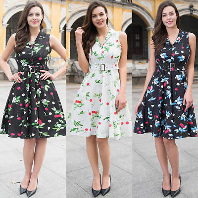Womens 50s 60s Vintage Rockabilly Pinup Swing Formal Floral Cocktail Party Dress