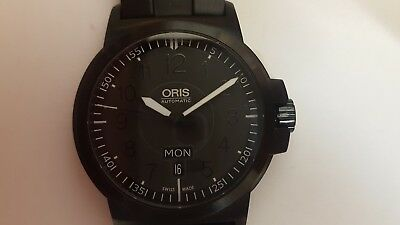 Oris 7641-47 All Stainless Steel Wrist Watch on a Black Rubber Strap