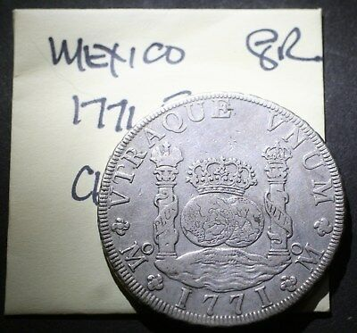 "1771 FM Mexico ""Pillar Dollar"" 8 Reales, Old Spanish Colonial Silver Coin"