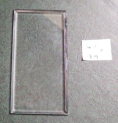 Bevelled glass panel for carriage clock or similar 4.1 cms x 7.9 cms