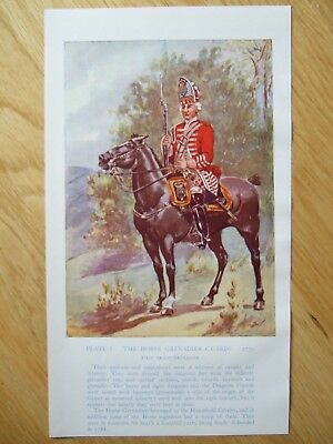 Vintage Military Print-The Horse Grenadier Guards 1750 By Major R M Barnes