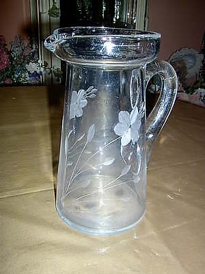 Etched Glass Pitcher 8 inches tall